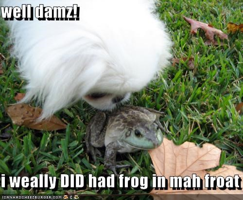 well damz!  i weally DID had frog in mah froat