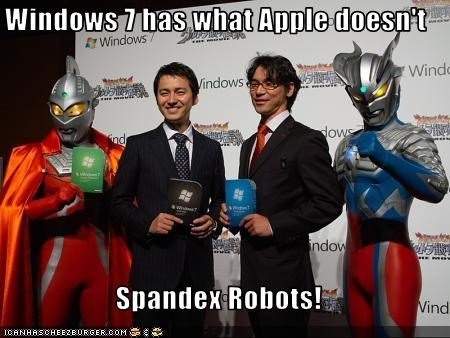 Windows 7 has what Apple doesn't  Spandex Robots!