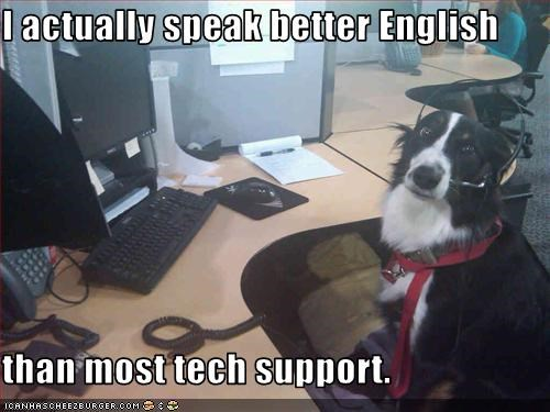 I actually speak better English  than most tech support.