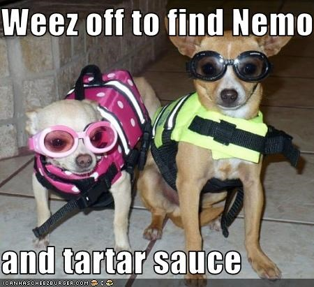 Weez off to find Nemo  and tartar sauce