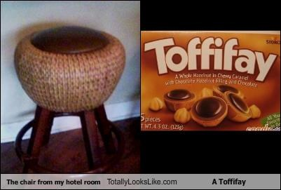 The chair from my hotel room Totally Looks Like A Toffifay