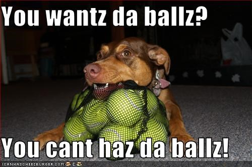 You wantz da ballz?  You cant haz da ballz!