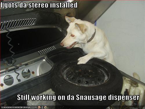 I gots da stereo installed  Still working on da Snausage dispenser