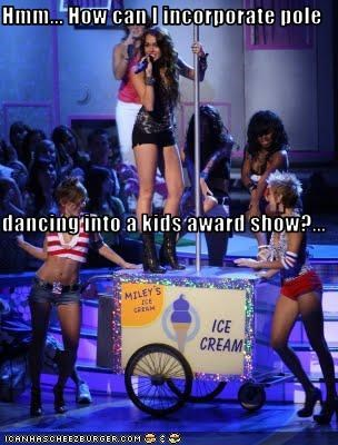 award shows,dancing,inappropriate,kids,miley cyrus,pole dancing,sluts