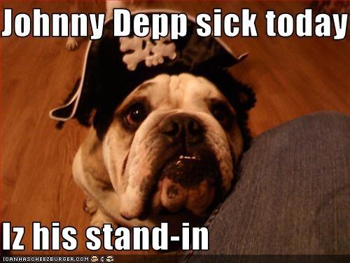 Johnny Depp sick today  Iz his stand-in