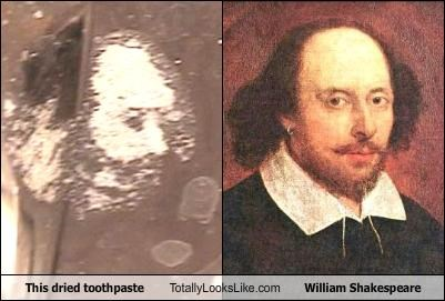 This dried toothpaste Totally Looks Like William Shakespeare