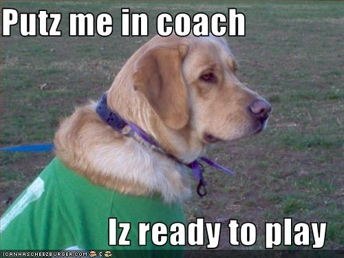 Putz me in coach  Iz ready to play