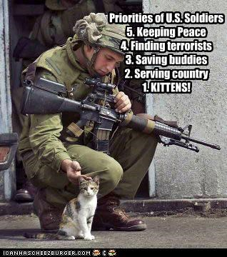 Priorities of U.S. Soldiers 5. Keeping Peace 4. Finding terrorists 3. Saving buddies 2. Serving country 1. KITTENS!