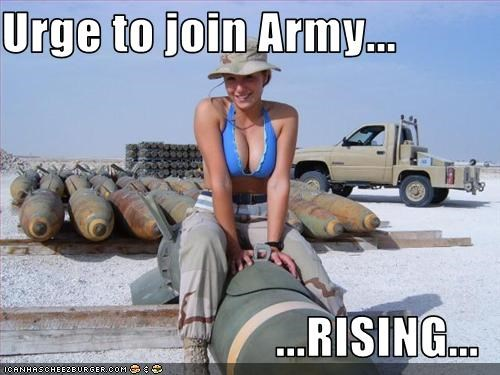 Urge to join Army...  ...RISING...