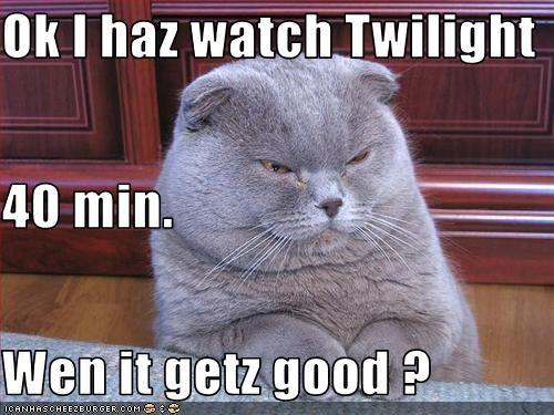 Ok I haz watch Twilight 40 min. Wen it getz good ?