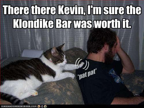 There there Kevin, I'm sure the Klondike Bar was worth it.