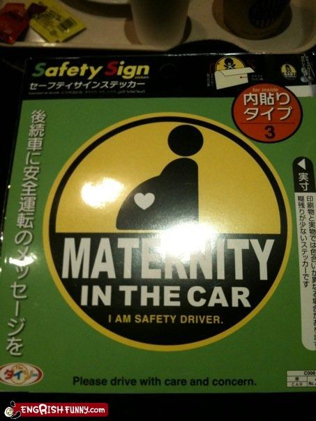 car,driver,g rated,maternity,pregnant,safety,signs