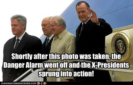 Shortly after this photo was taken, the Danger Alarm went off and the X-Presidents sprung into action!
