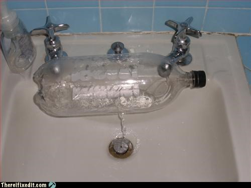 bottled water,faucet,sink,two liter