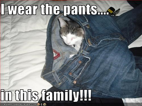 I wear the pants....  in this family!!!
