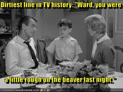"Dirtiest line in TV history: ""Ward, you were    a little rough on the beaver last night."""