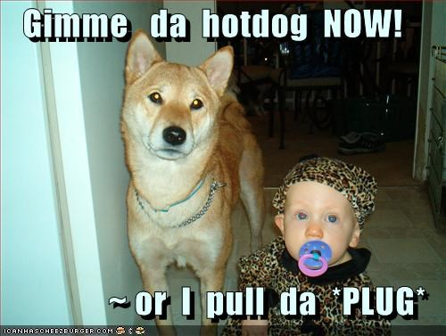 Gimme   da  hotdog  NOW!  ~ or  I  pull  da  *PLUG*