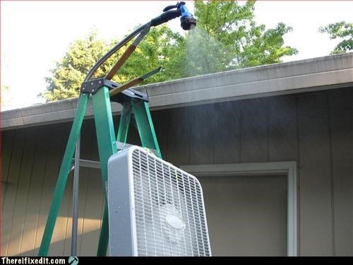 Box fan + hose + ladder + BBQ tongs = refreshing mist!