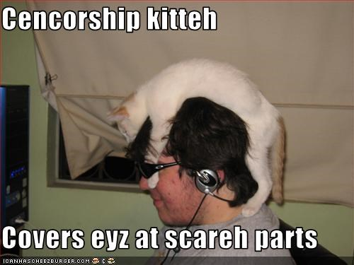 Cencorship kitteh  Covers eyz at scareh parts