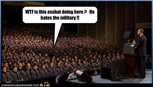 WTF is this asshat doing here ?   He hates the military !!