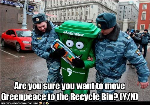 Are you sure you want to move  Greenpeace to the Recycle Bin? (Y/N)