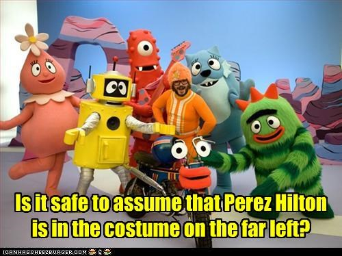 Is it safe to assume that Perez Hilton is in the costume on the far left?