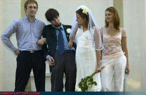 bride,drunk groom,groom,miscellaneous-oops,prenup,sleeping,sloppy wedding,technical difficulties