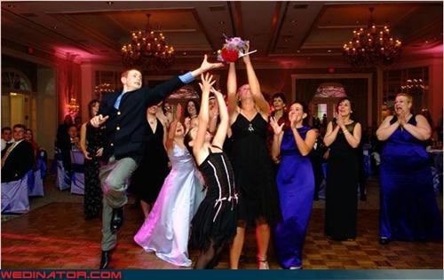 bouquet toss,bridesmaids,Crazy Brides,fashion is my passion,future brides,high kick,surprise,wtf