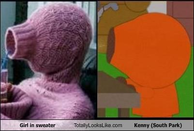 Girl in sweater Totally Looks Like Kenny (South Park)