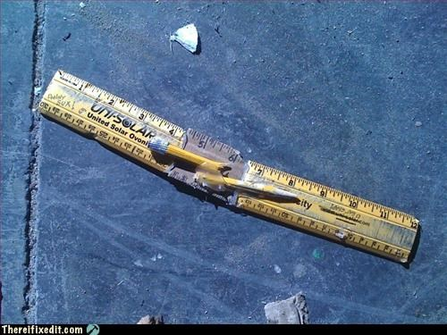 cheaper to buy a new one,pencil,recycling-is-good-right,ruler,tape