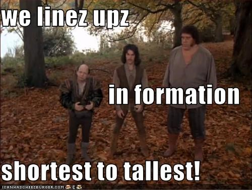 we linez upz in formation shortest to tallest!