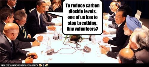 To reduce carbon dioxide levels, one of us has to stop breathing. Any volunteers?