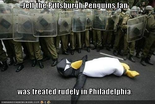 Jeff the Pittsburgh Penguins fan  was treated rudely in Philadelphia.