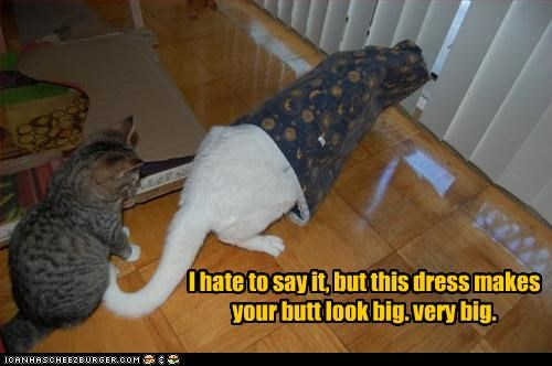 I hate to say it, but this dress makes your butt look big. very big.