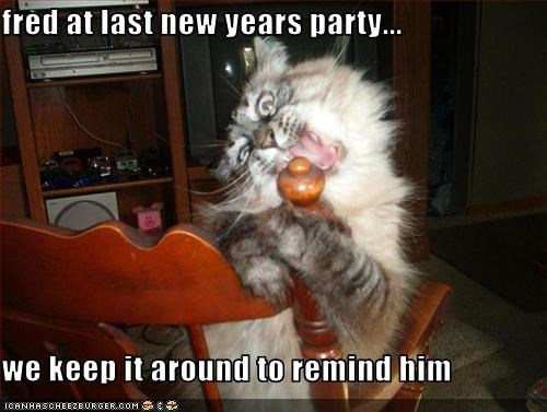 fred at last new years party...  we keep it around to remind him