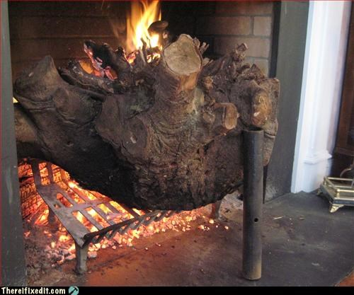 fire hazard,fireplace,make it fit,stump
