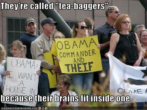"They're called ""tea-baggers""...  because their brains fit inside one"