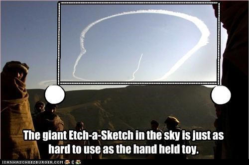 The giant Etch-a-Sketch in the sky is just as hard to use as the hand held toy.