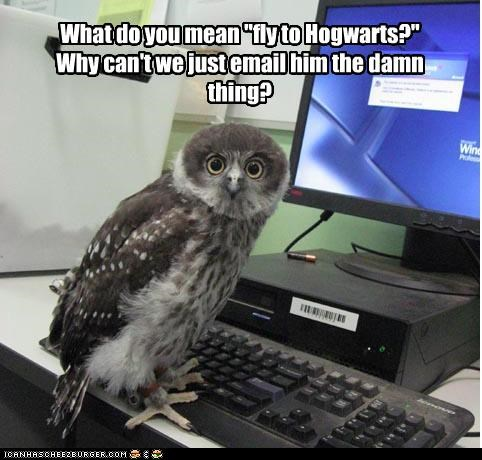 "What do you mean ""fly to Hogwarts?"" Why can't we just email him the damn thing?"