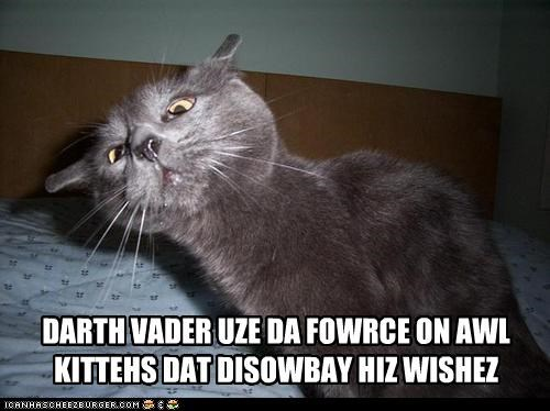 DARTH VADER UZE DA FOWRCE ON AWL KITTEHS DAT DISOWBAY HIZ WISHEZ