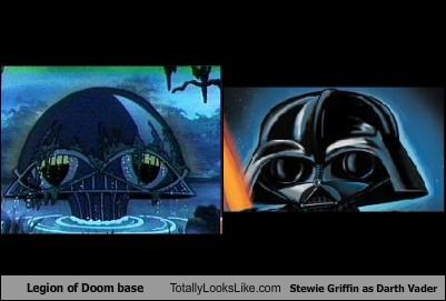 Legion of Doom base Totally Looks Like Stewie Griffin as Darth Vader