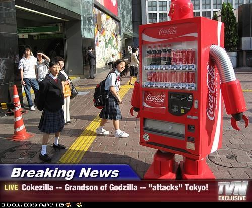 "Breaking News - Cokezilla -- Grandson of Godzilla -- ""attacks"" Tokyo!"