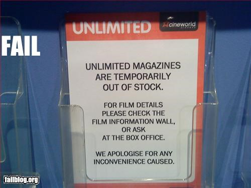 failboat,g rated,irony,magazines,out of stock,unlimited