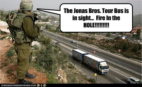 The Jonas Bros. Tour Bus is in sight...  Fire In the HOLE!!!!!!!!!