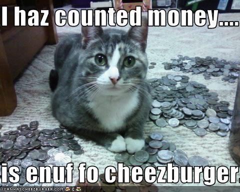 I haz counted money....  is enuf fo cheezburger.