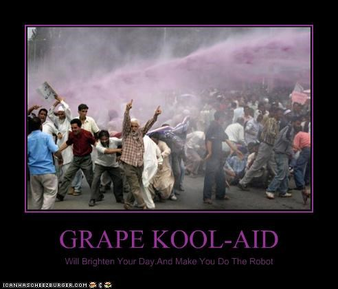 kool aid,protesters,riots,water cannons