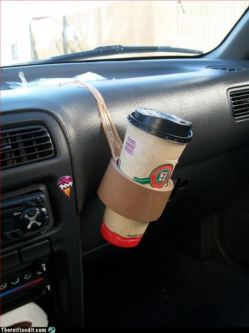 car,coffee,Hall of Fame,tape,tenuous hold