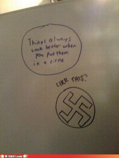 curbing,nazi,put a circle around it,sorry,swastika,toilet graffiti,totally not funny,wiseass