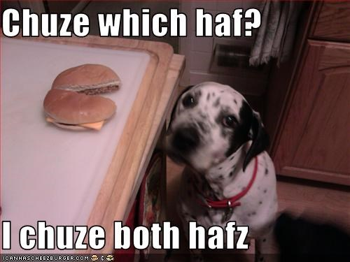 Chuze which haf?  I chuze both hafz