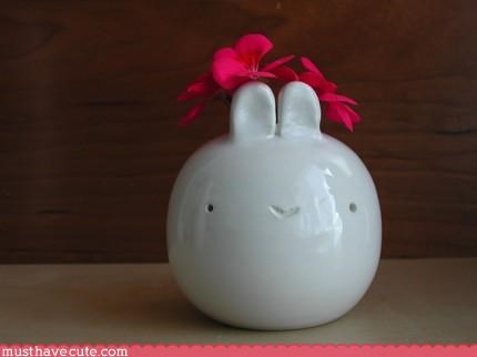 bunny,cute,pottery,vase,white